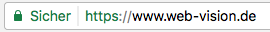 "Google Chrome zeigt Website mit SSL Verschlüsselung als ""Sicher"" an."