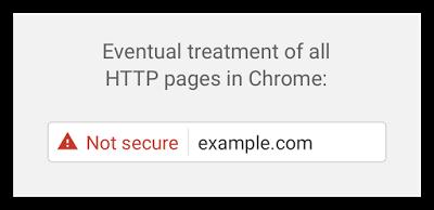 """Not Secure"" Hinweis in künftigen Google Chrome Versionen."
