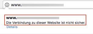 Sicherheitshinweis im Google Chrome auf eine unverschlüsselte Seite.