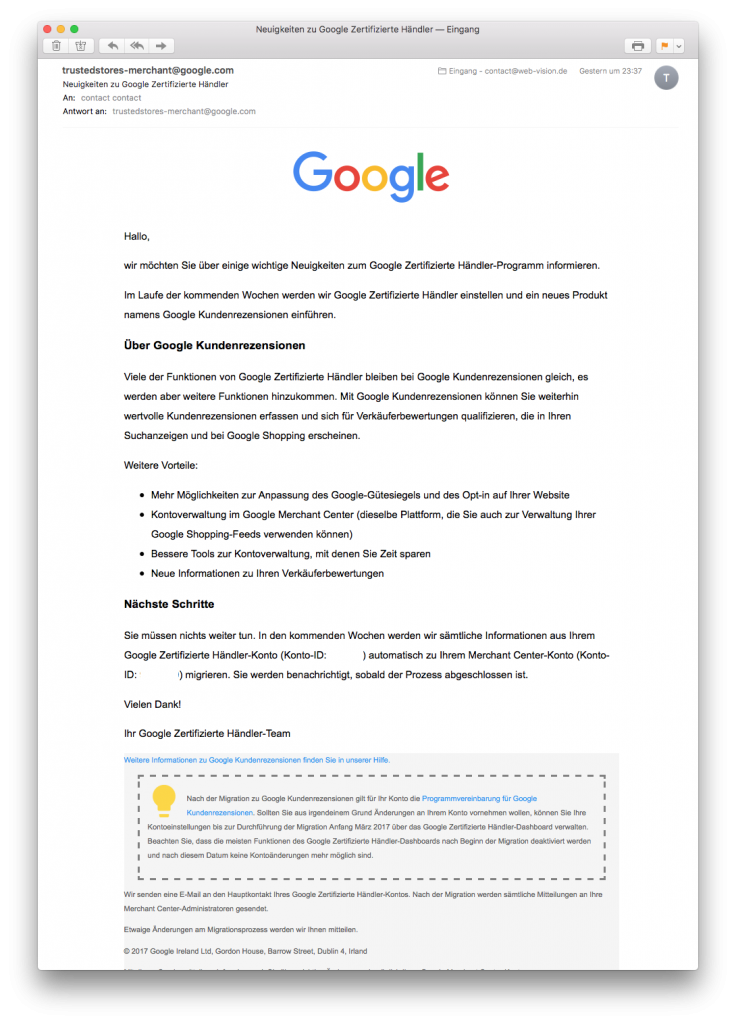 Google zertifizierter Händler-Programm wird beendet - Email