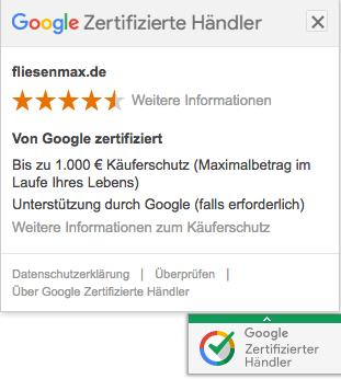 Google zertifizierter Händler - Beispiel Einbindung fliesenmax.de